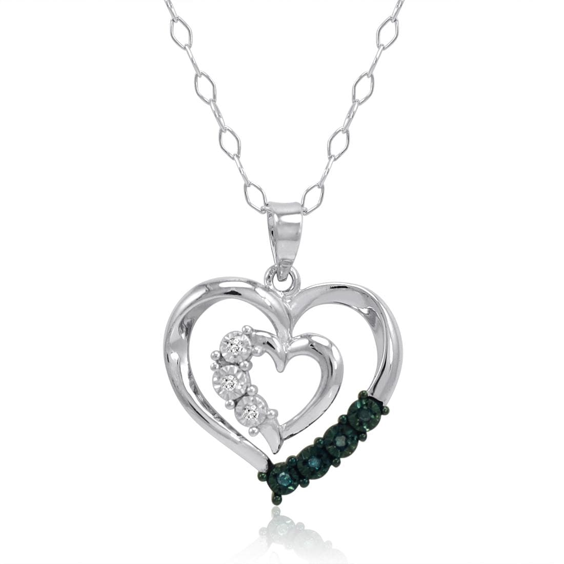 Amanda Rose Blue and White Diamond Heart Pendant-Necklace in Sterling Silver