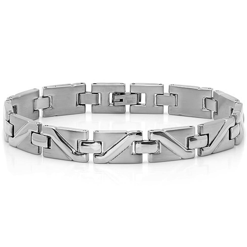Oxford Ivy Mens Stainless Steel Solid Patterned Link Bracelet 8 1/2 inches