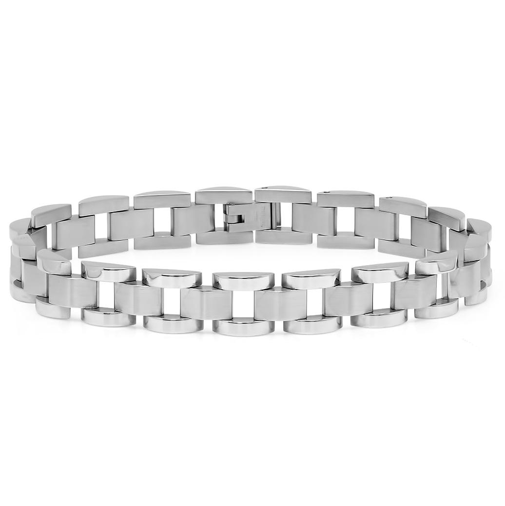 Oxford Ivy Mens Square Link Stainless Steel Bracelet 8 1/2 inch