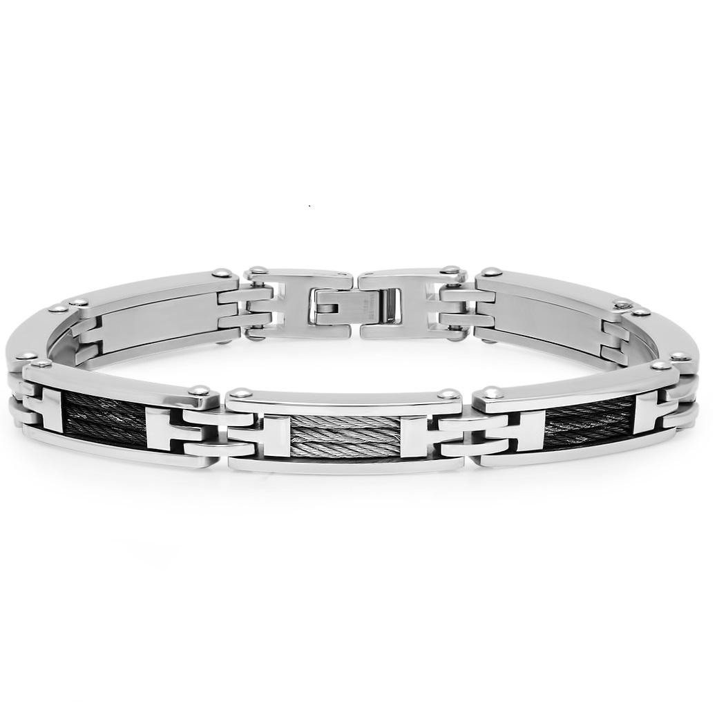 Oxford Ivy Men's Stainless Steel Cable Link Bracelet 8 1/2 inches