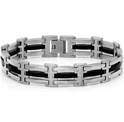 Oxford Ivy Mens Stainless Steel and Black Rubber Link Bracelet 8 1/2 inches - Thumbnail 0