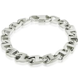 Oxford Ivy Men's Stainless Steel Mariner Link Bracelet 8 1/2 inch - Thumbnail 0