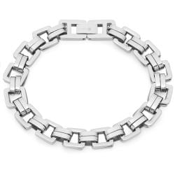 Oxford Ivy Mens Square Link Stainless Steel Bracelet 8 /4 inch - Thumbnail 0