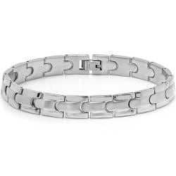 Oxford Ivy Mens Solid Stainless Steel Solid Chain Link Bracelet 8 1/4 inches - Thumbnail 0