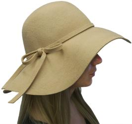 Womens Elegant Luxury 100-percent Wool Floppy Fedora Hat with Bow, Black Grey Beige Burgundy