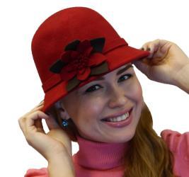 Women Elegant Luxury 100-percent Wool Cloche Fedora Hat with Flower, Black Grey Beige Red