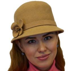 Women Elegant Luxury 100-percent Wool Cloche Fedora Hat with Flower, Black Grey Beige Burgundy