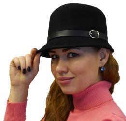 Women Elegant Luxury 100-percent Wool Cloche Fedora Hat Belt Buckle Design, Black Grey Beige Burgundy