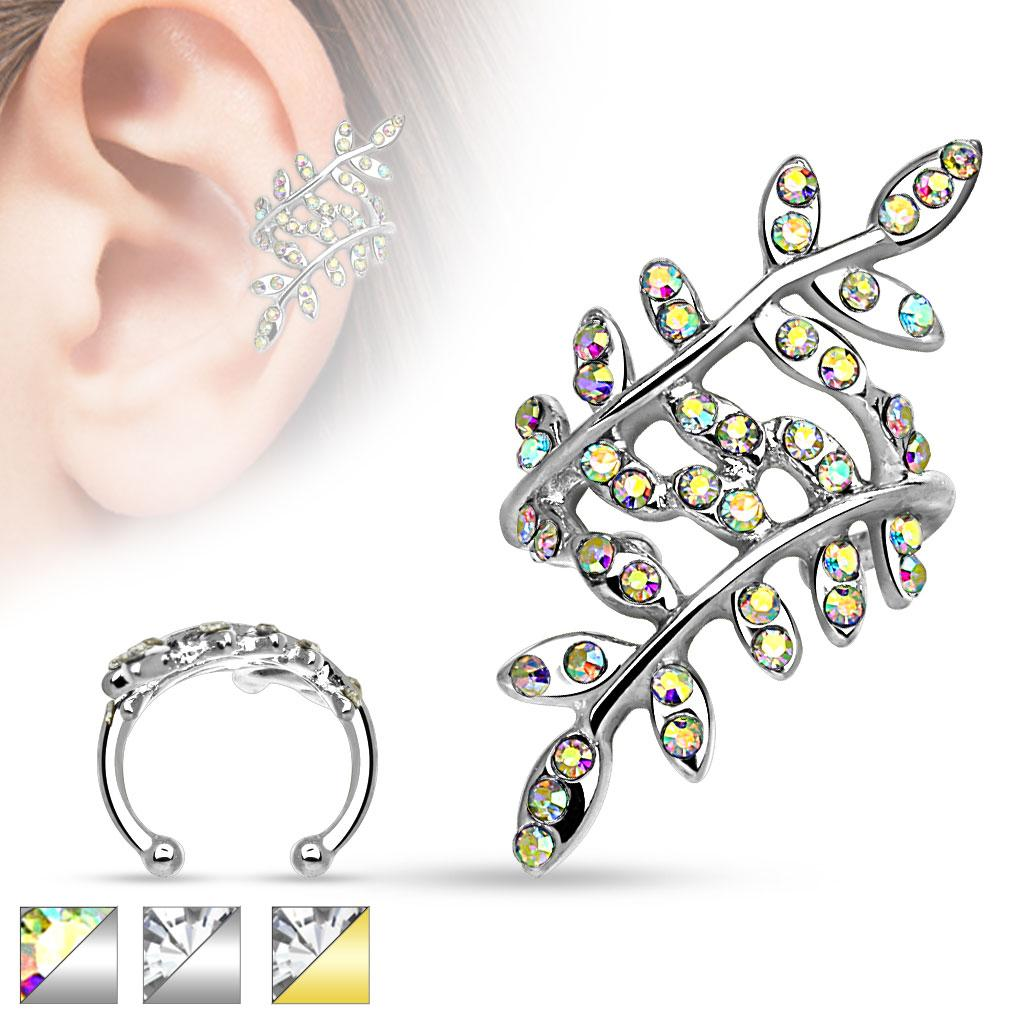 Multi Paved Crystals Leaflet Non Piercing Ear Cuff