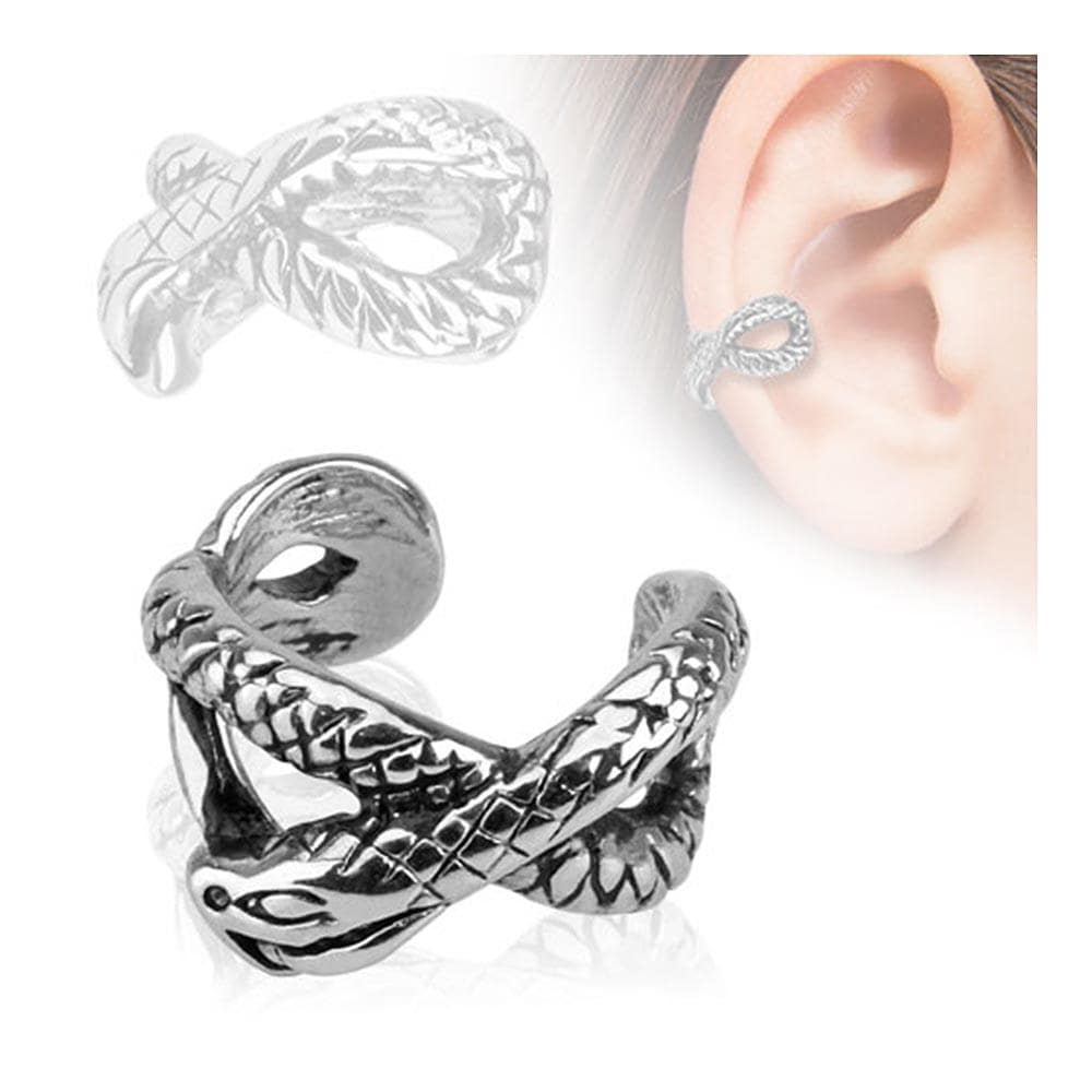 Snake Design Rhodium Plated Brass Non Piercing Ear Cuff