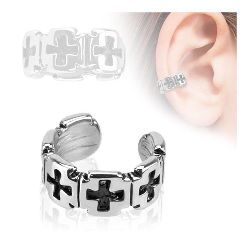 Iron Cross Pattern Rhodium Plated Brass Non Piercing Ear Cuff