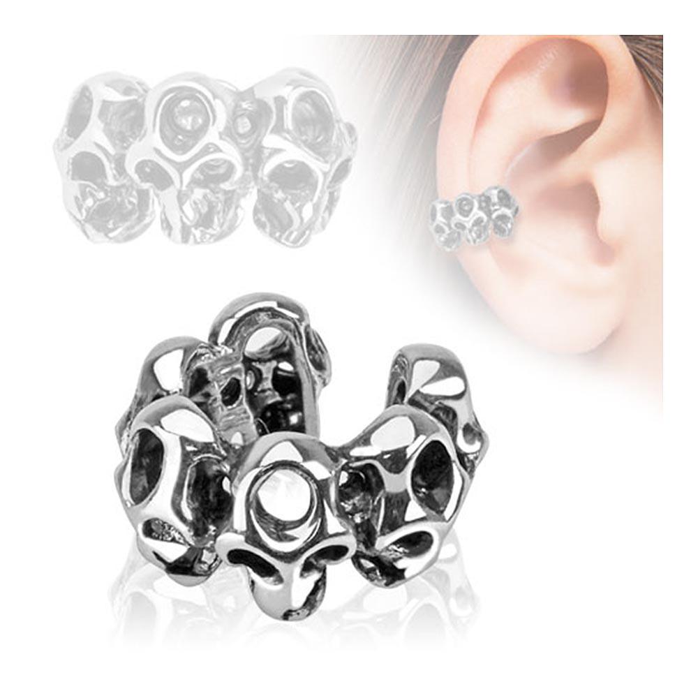 Skull Design Rhodium Plated Brass Non Piercing Ear Cuff