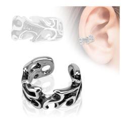 Leaves Design Rhodium Plated Brass Non Piercing Ear Cuff