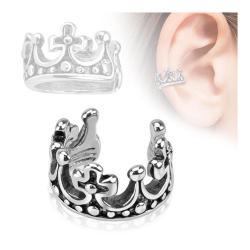 Crown Design Rhodium Plated Brass Non Piercing Ear Cuff - Thumbnail 0
