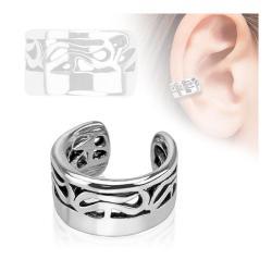 Tribal Design Rhodium Plated Brass Non Piercing Ear Cuff - Thumbnail 0