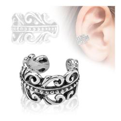 Carved Swirls Rhodium Plated Brass Non Piercing Ear Cuff