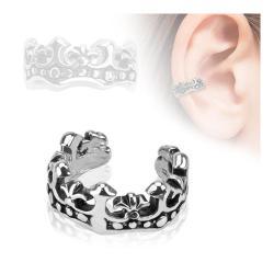 Fleur De Lis Design Rhodium Plated Brass Non Piercing Ear Cuff - Thumbnail 0