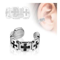 Iron Cross Pattern Rhodium Plated Brass Non Piercing Ear Cuff