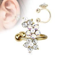 Flower Gold IP Brass Non-Piercing Ear Cuff