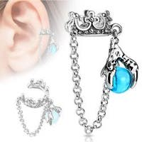 Crown with Chain and Dragon Ball Dangle Non-Piercing Ear Cuff