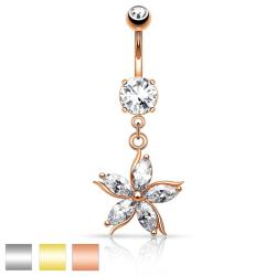 Flower w/ CZ Shard Petals Dangle Navel Ring