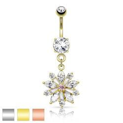 Flower w/ Prong Set CZ Shard Petals Dangle Navel Ring