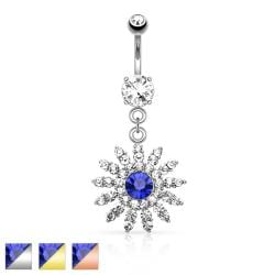 Paved Gem Flower with Blue CZ Center Dangle Navel Ring