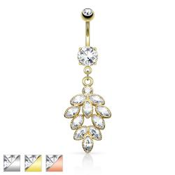 Cluster CZ Grape Dangle Navel Ring