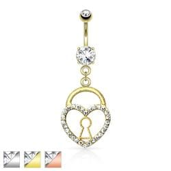 Keyhole Heart Lock with Paved Gems Dangle Navel Ring