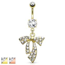 Clear Gem Paved Ribbon Dangle Navel Ring
