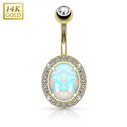 Oval Opal Center with Clear CZ Frame Solid 14KT Gold Non Dangle Navel Ring