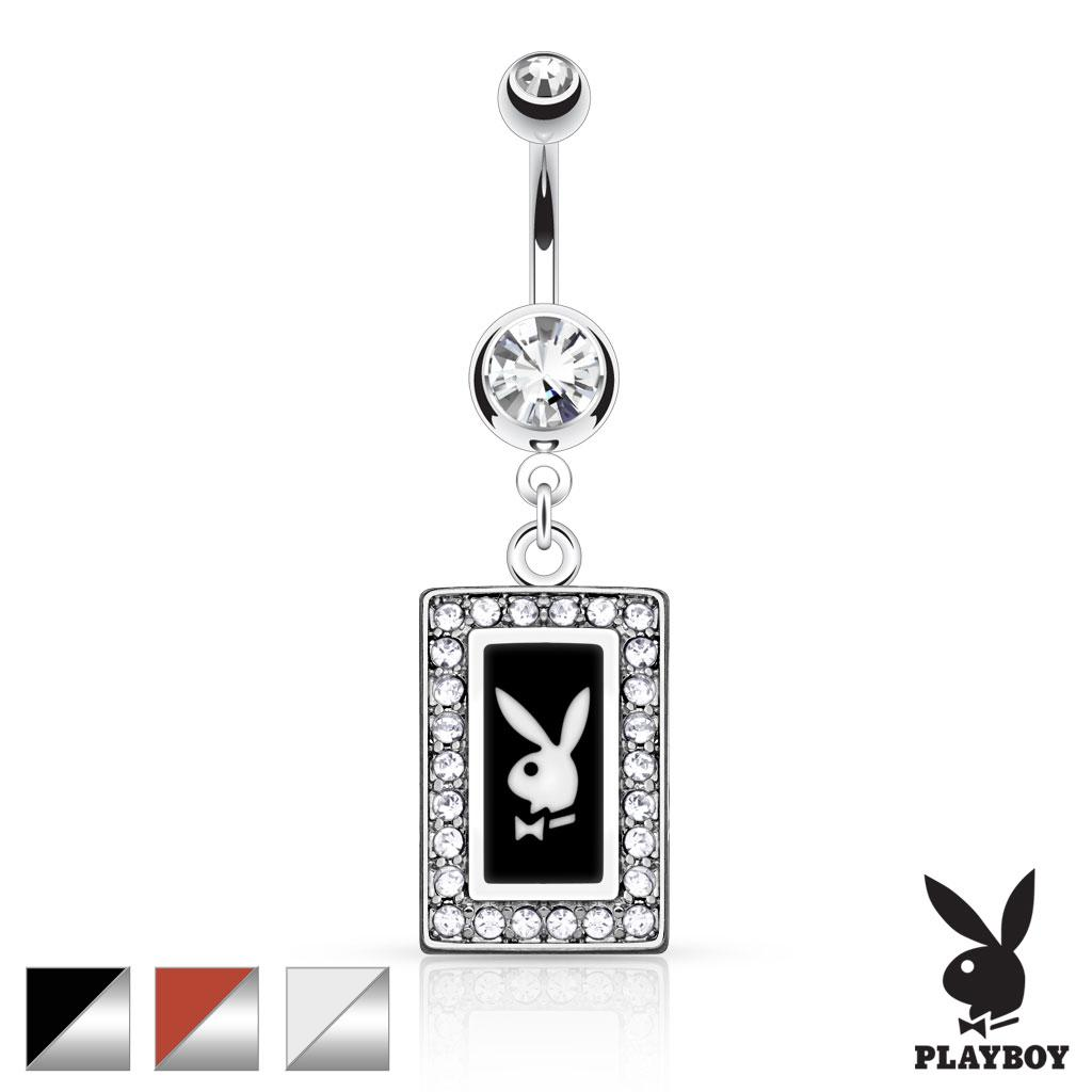 Playboy Bunny Square Frame with Paved Gems Dangle Navel Ring - Free ...