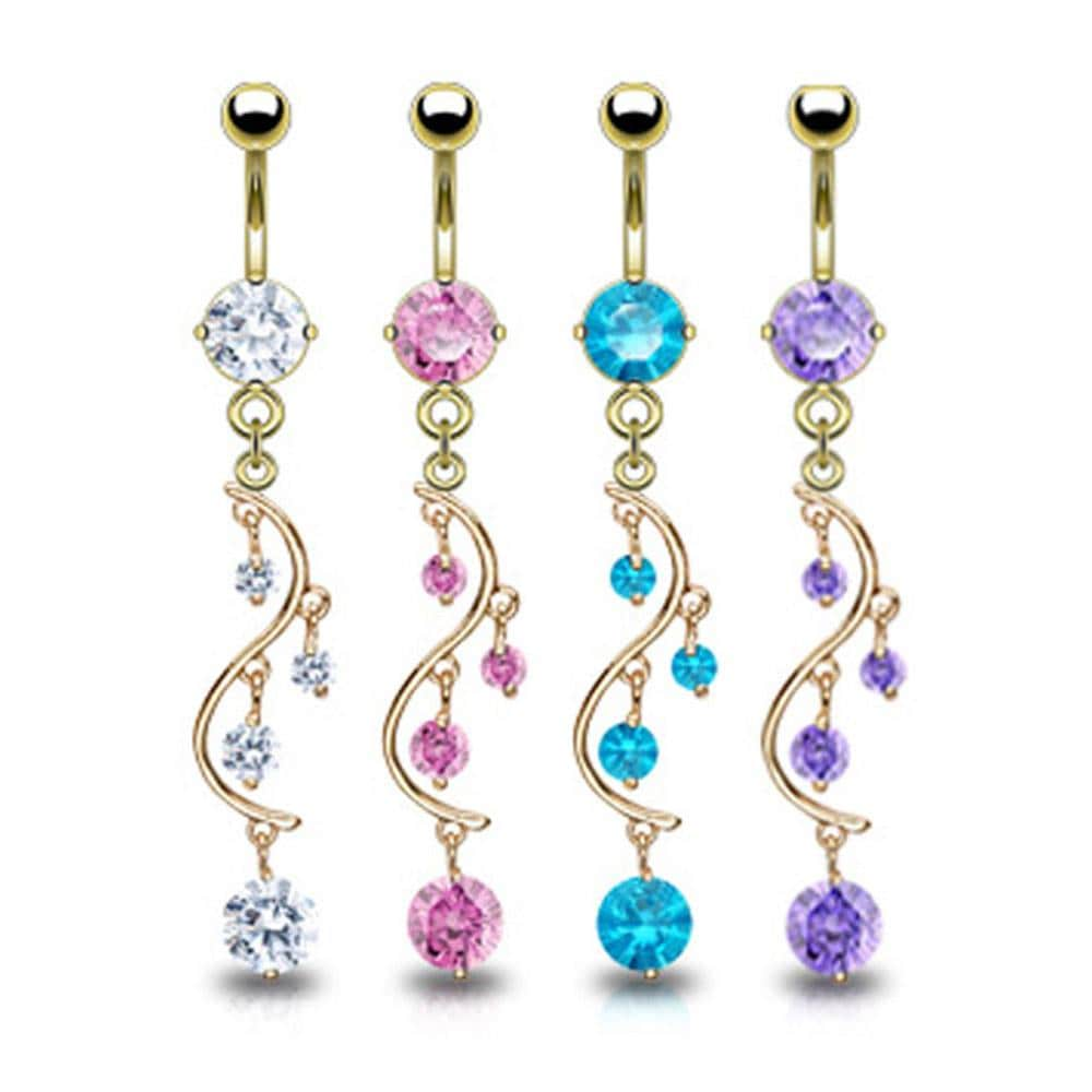 "Gold Plated Prong-Set Solitare Round CZ Vine Dangle Navel Belly Button Ring- 14GA 3/8"" Long"