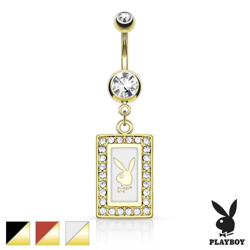 Playboy Bunny Square Frame With Paved Gems Dangle gold-plated Navel Ring