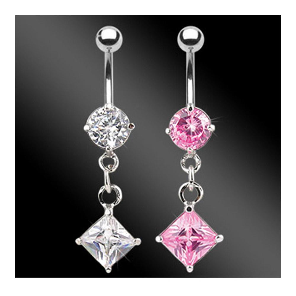 "Navel Belly Button Ring with CZ Diamond CZ Dangle - 14GA 3/8"" Long"