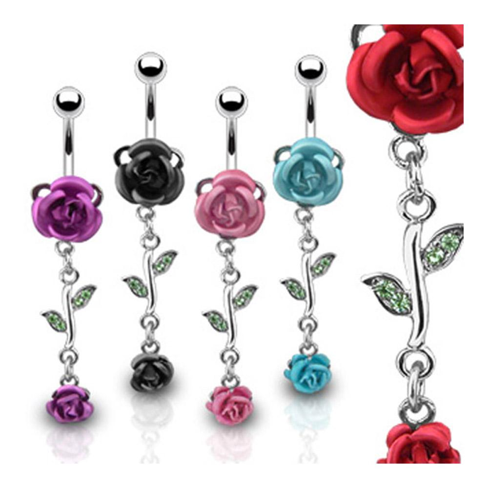 """Navel Belly Button Ring with Metal Rose and Rose Dangle - 14GA 3/8"""" Long"""