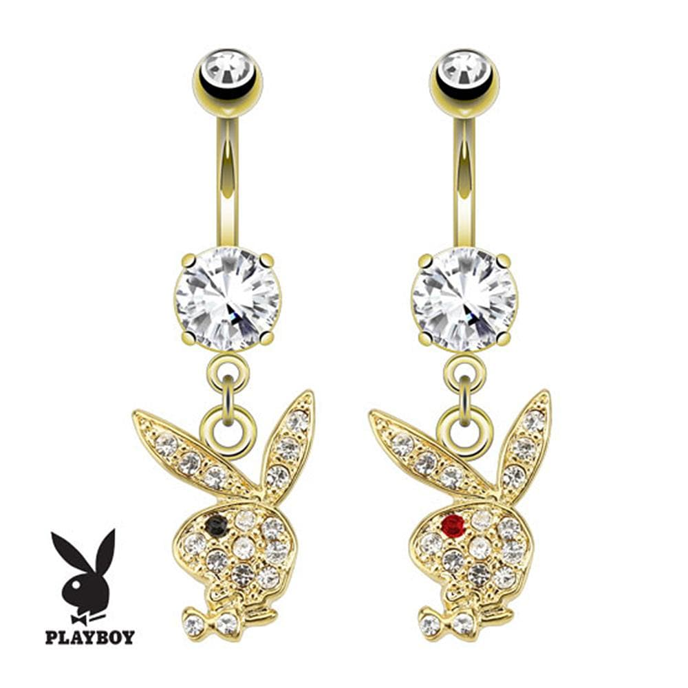 Paved Gems On Playboy Bunny Dangle gold-plated Navel Belly Button Ring