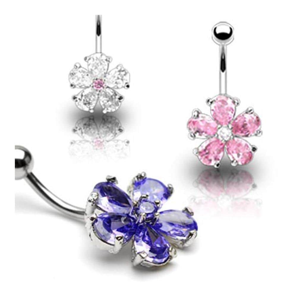 "Stainless Steel Multi Tear Drop Gem Flower Navel Belly Button Ring - 14 GA 3/8"" Long"