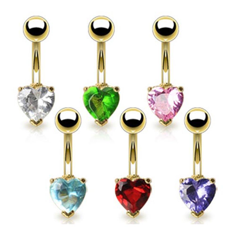 """Gold Plated Navel Belly Button Ring with 6mm Heart CZ - 14 GA - 3/8"""" Long"""