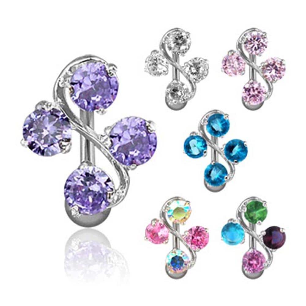 """Navel Belly Button Ring with 4-Gem Vine - 14 GA 3/8"""" Long"""