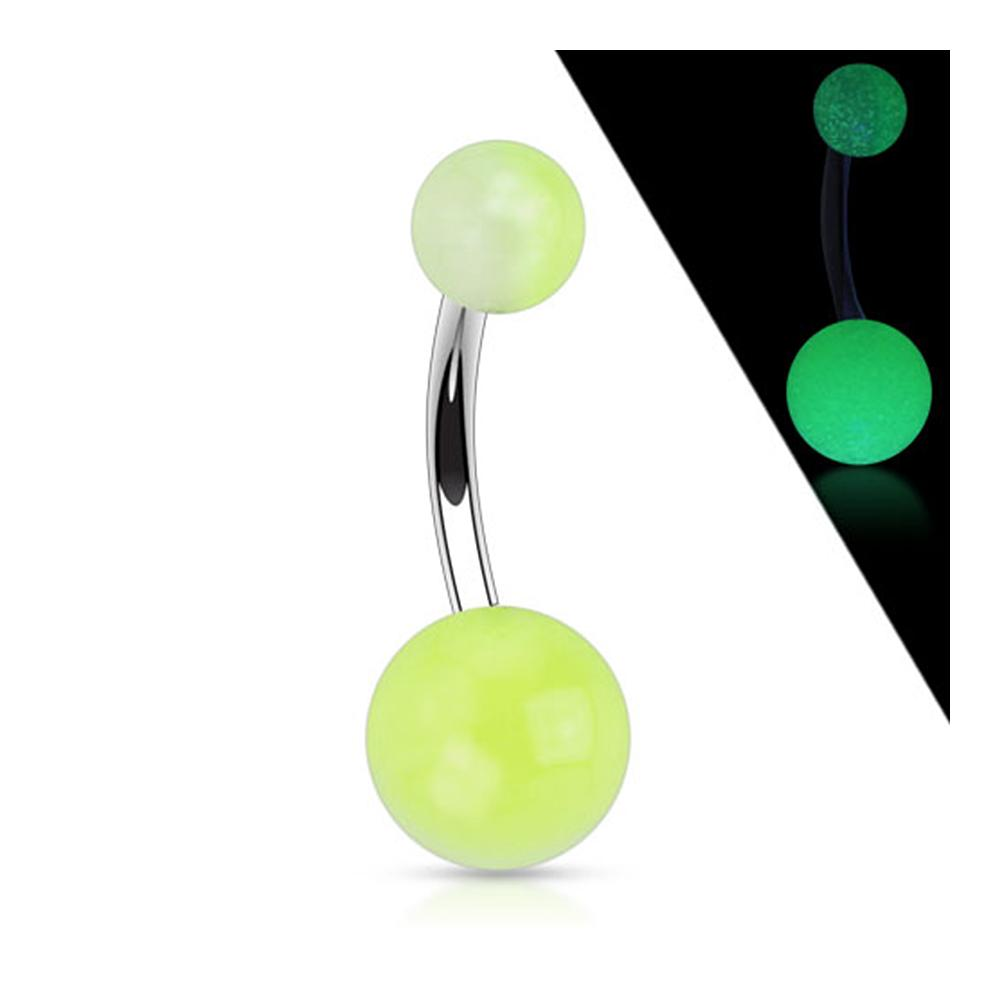 "Stainless Steel Navel Belly Button Ring with 2-Tone Glow in the Dark Ball - 14GA 7/16"" Long"