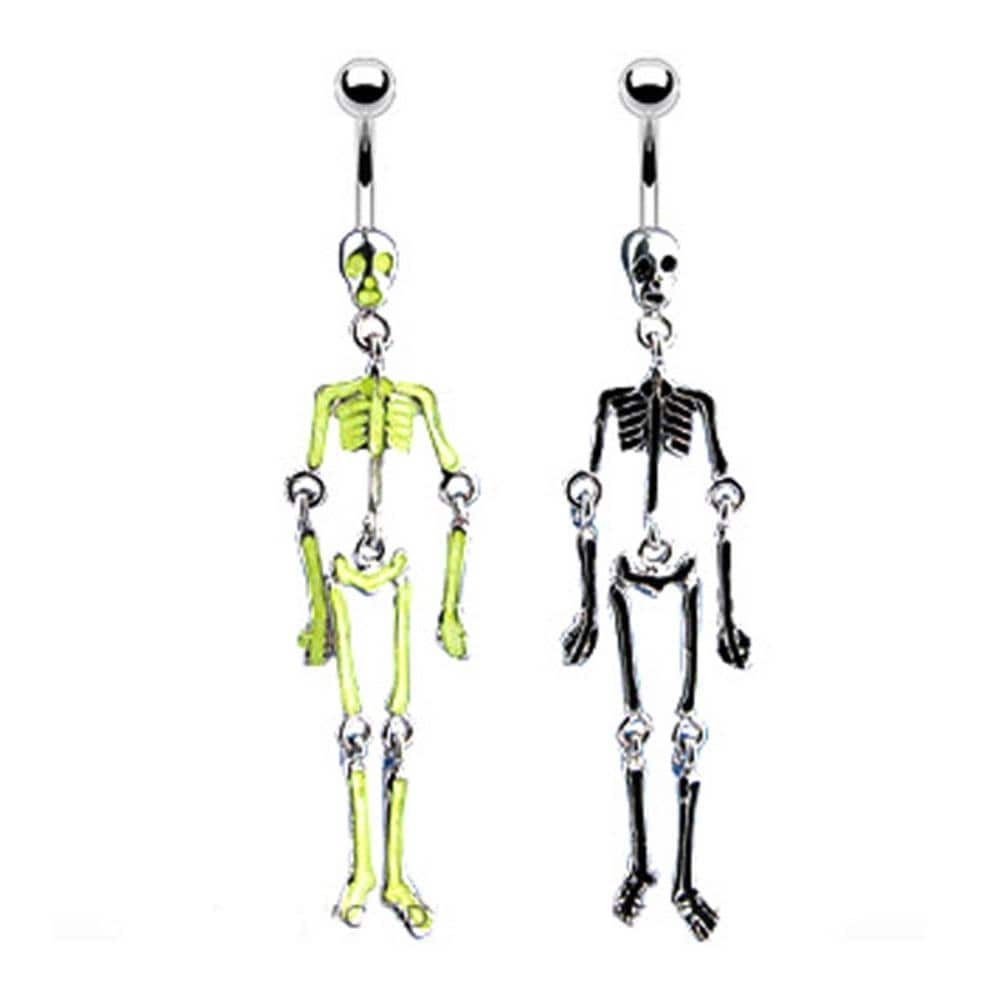 "Navel Belly Button Ring with Skeleton Bones Glow in the Dark Dangle - 14GA 3/8"" Long"