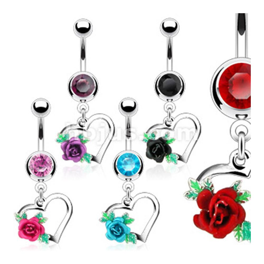 """Navel Belly Button Ring with CZ and Dangle Heart with Rose - 14GA 3/8"""" Long"""