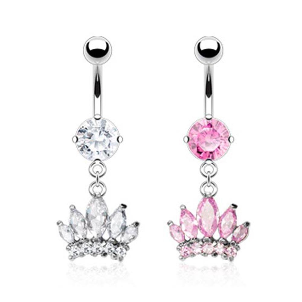 Stainless Steel Belly Button Ring CZ Prong-Set with Marquise Cut Gem Paved Crown Dangle