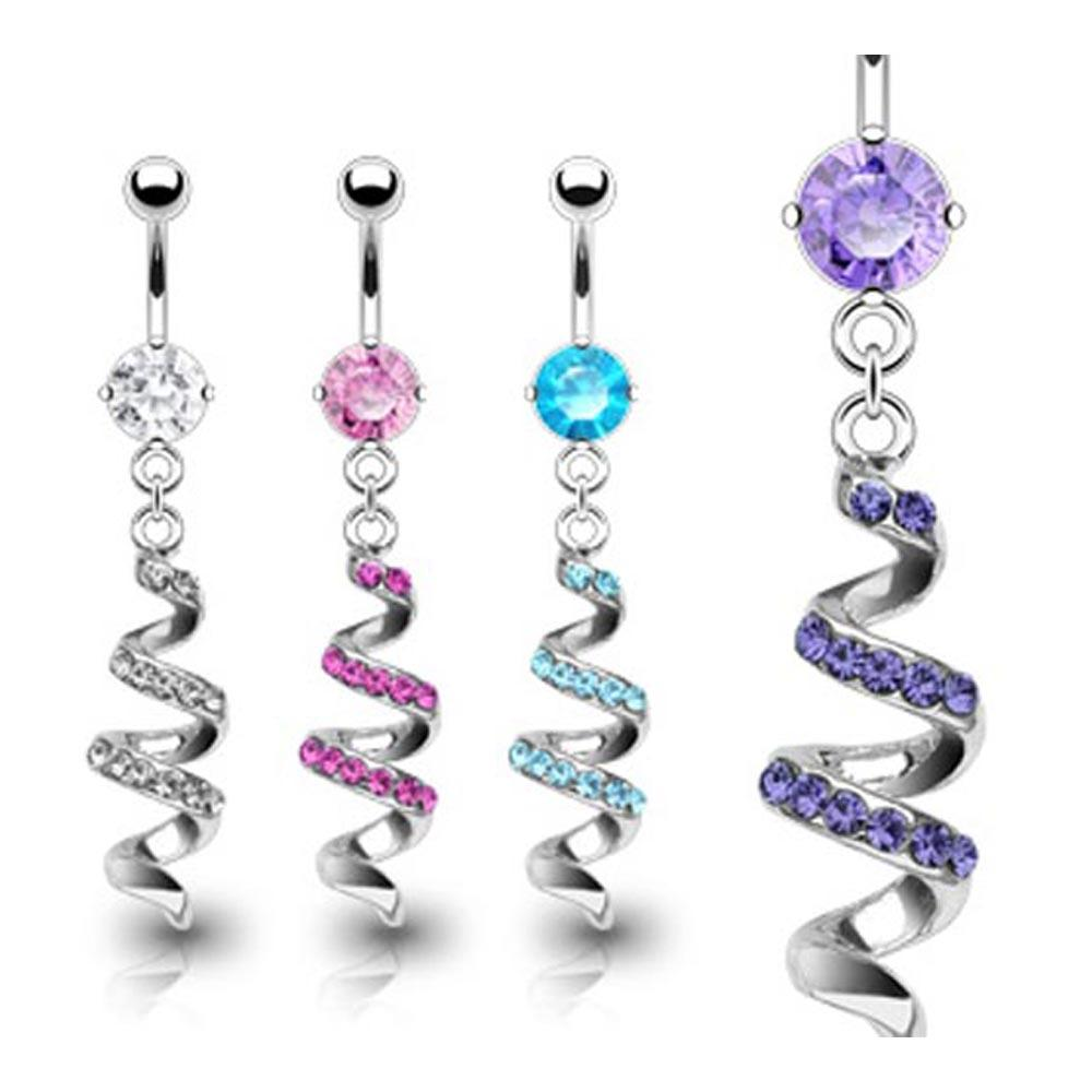 "Stainless Steel Navel Belly Button Ring with Gem Paved Swirl Dangle - 14 GA 3/8"" Long"