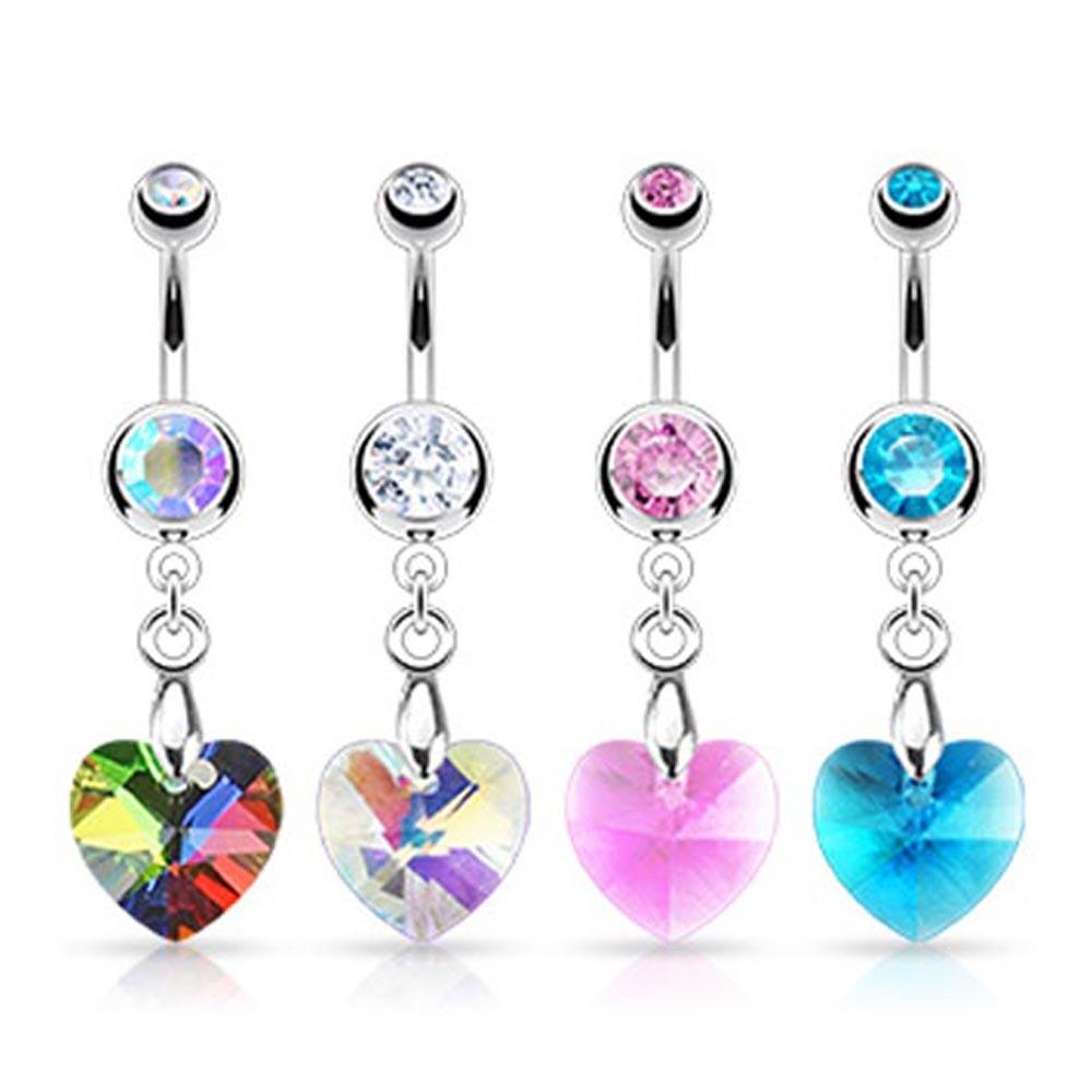 "Stainless Steel Crystal Prism Heart Navel Belly Button Ring - 14 GA 3/8"" Long (5 & 8mm Balls)"