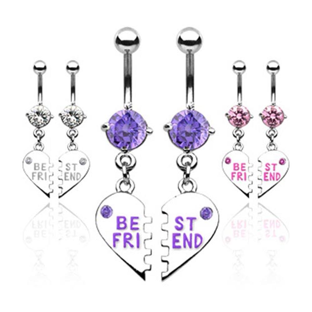 "Pair of ""Best Friend"" CZ Charm Navel Belly Button Ring Pendent - 14 GA 3/8"" Long"