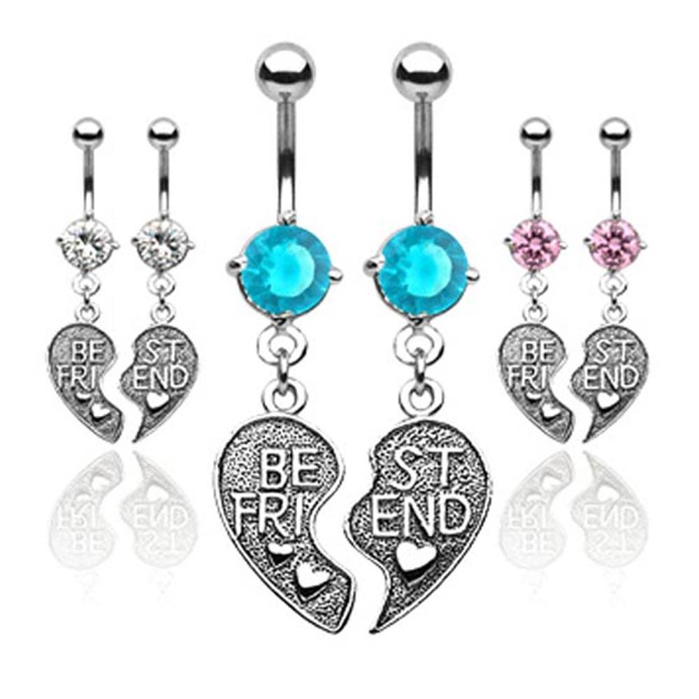 "Pair of Antique Finished ""Best Friend"" Heart Charm Pendent CZ Navel Belly Button Ring"