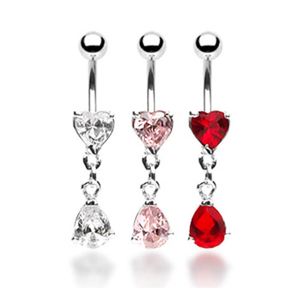"CZ Heart Navel Belly Button Ring with Tear Drop CZ Dangle - 14GA 3/8"" Long"
