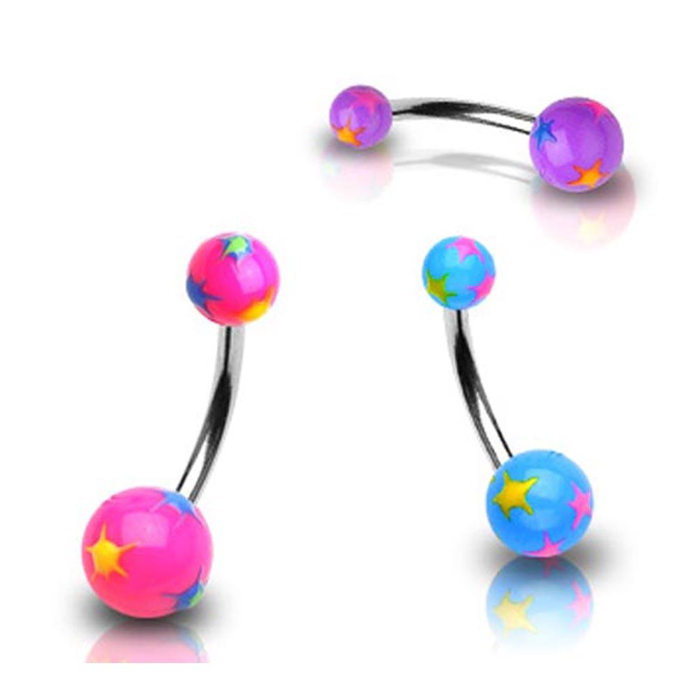 "Stainless Steel Navel Belly Button Ring with Multi Colored Starburst UV Ball - 14 GA 3/8"" Long"